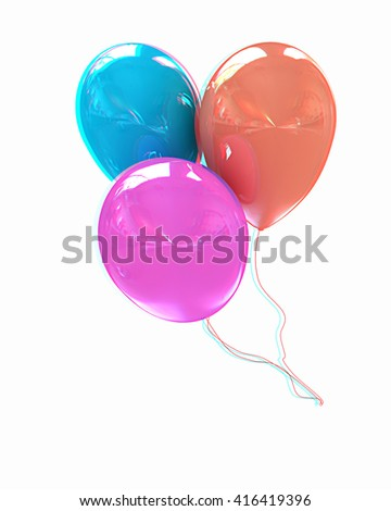 3d colorful balloons on a white background. 3D illustration. Anaglyph. View with red/cyan glasses to see in 3D. - stock photo