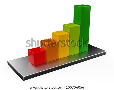 3D colorful bar chart - stock photo