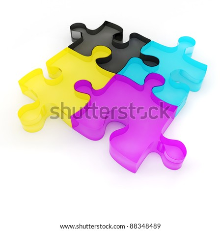 3d colorful CMYK puzzle on white background - stock photo
