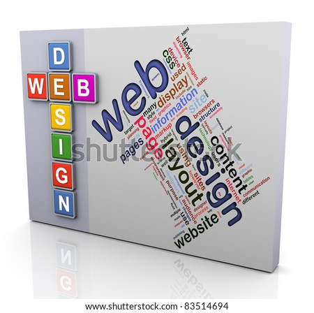 3d colorful crossword and wordcloud of text 'web design' - stock photo