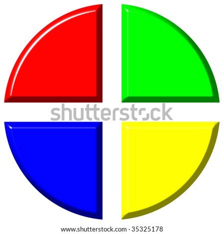 3d colorful pie chart with four equal portions - stock photo