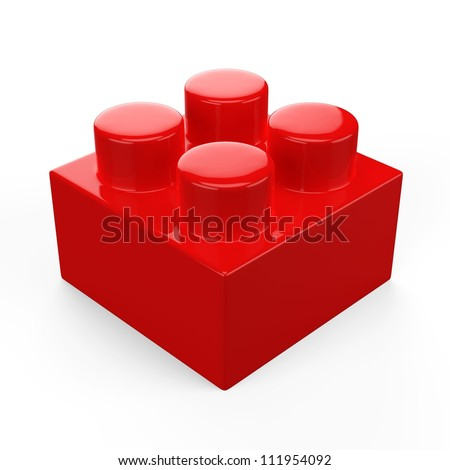 3D colorful plastic toy lego blocks. Isolated white background. - stock photo