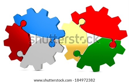 3d colorful puzzle gear on a white background  - stock photo