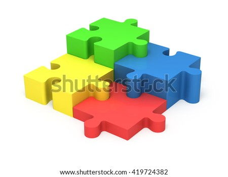 3D colorful puzzle pieces isolated on white background. Concept teamwork.