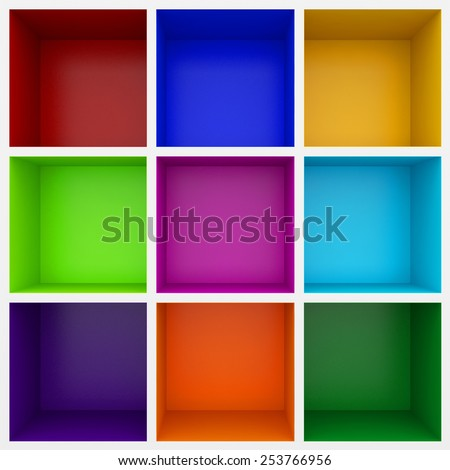 3d colorful shelves for show case - stock photo