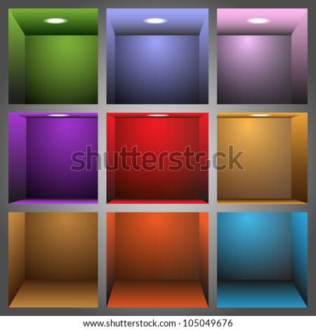 3d colorful shelves.Raster version - stock photo