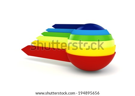 3d colorful sphere and arrows on white background