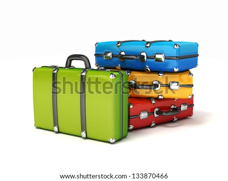 3d colorful suitcases isrolated - stock photo