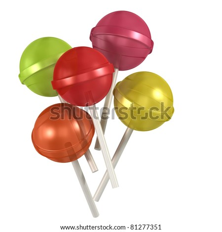 3d colorful sweet lollipops on white background - stock photo