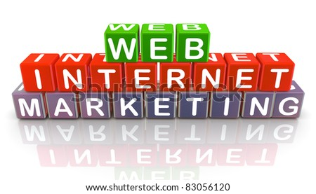 3d colorful text cubes of 'internet web marketing' - stock photo