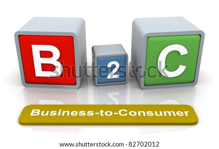 3d colorful textbox B2C - Business-to-Consumer - stock photo