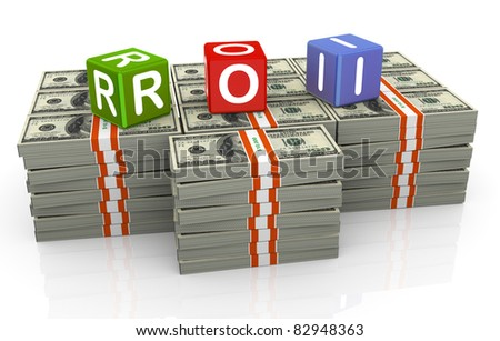 3d colorful textbox roi - Return on Investment - stock photo