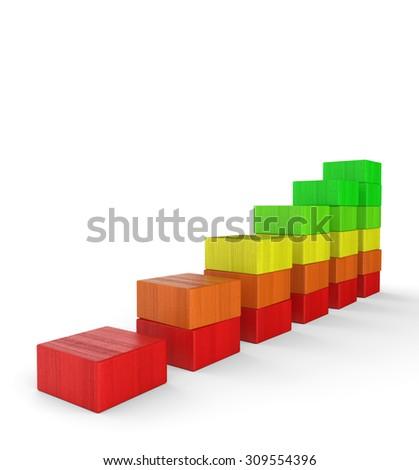 3d colorful wood brick chart - stock photo