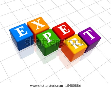 3d colour boxes with text - expert, word