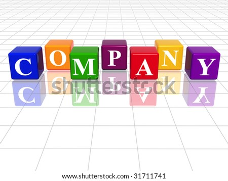 3d colour cubes with text - company, word, with reflection