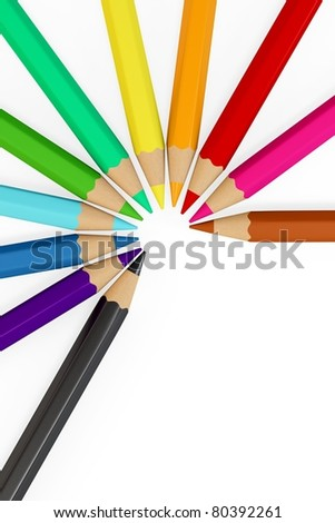 3d colourful pencils isolated on white background
