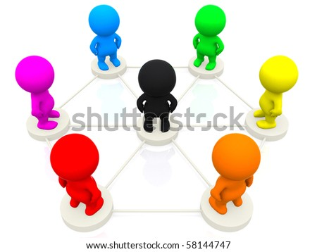 3D colourful people networking isolated over a white background