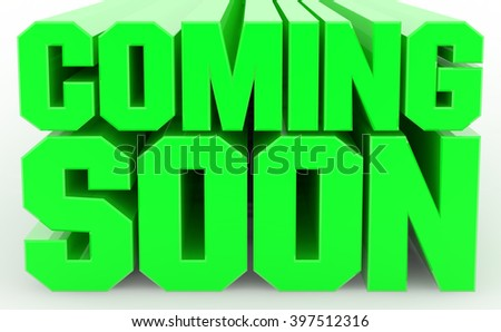3D COMING SOON word on white background illustration 3D rendering