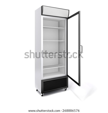 3d commercial fridge with glass door on white background - stock photo