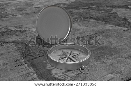 3D Compass on old map - stock photo
