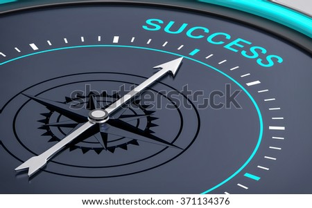 3D Compass. Success Word. Orientation, Aim or Target Concept. - stock photo