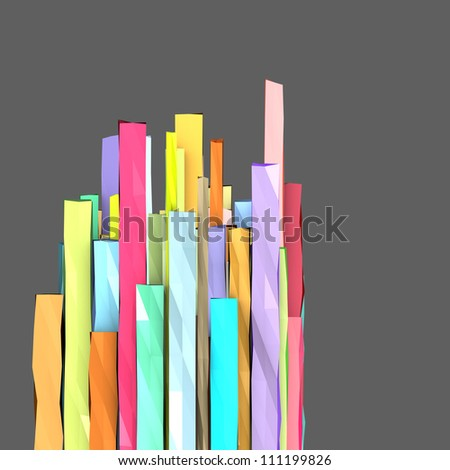 3d composition with rectangular shapes in multiple color - stock photo