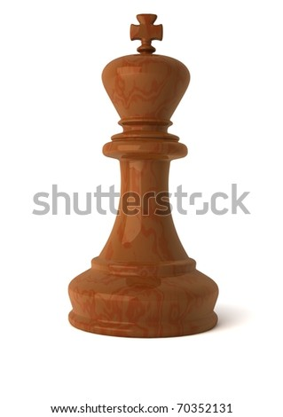 3d computer generated image of a  wooden chess king piece isolated on white background with clipping path - stock photo
