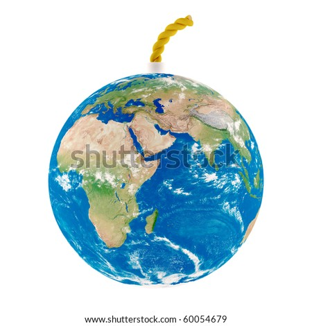 3d computer generated image of Earth bomb on white - stock photo