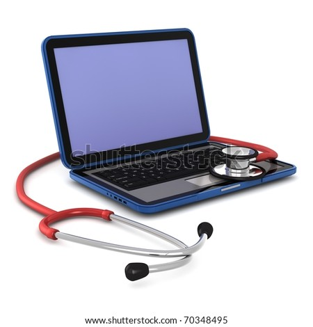 3d computer generated of a laptop with a  stethoscope on it  isolated on white background - stock photo