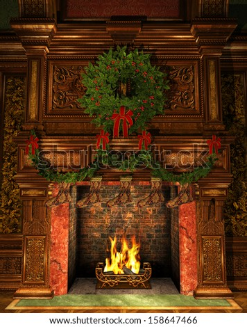 3d Computer Graphics of a Fireplace decorated for Christmas with Holly Wreath, Garland and Stockings - stock photo