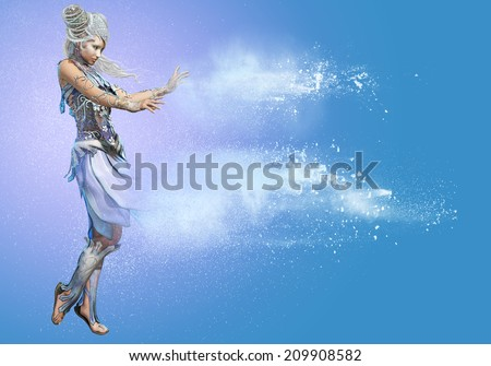 3d computer graphics of a lady in a Snow Queen fantasy dress - stock photo