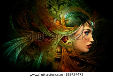 3D computer graphics of a Portrait of a Lady with abstract headgear - stock photo