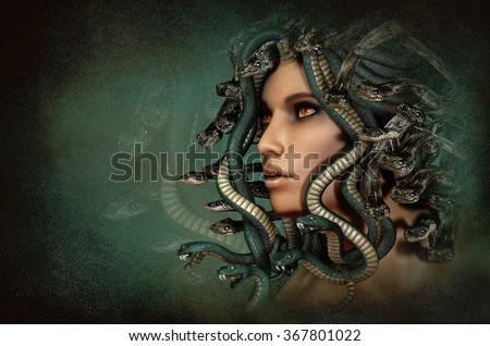 3d computer graphics of a portrait of the grecian mythological figure Medusa