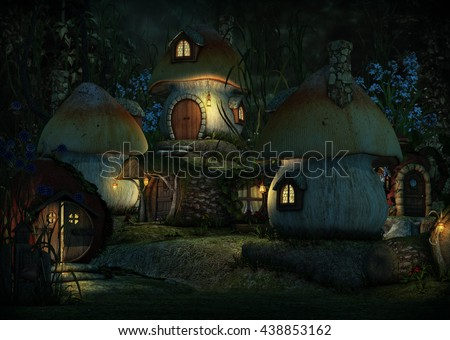 3d computer graphics of a village with Leprechaun cottages by night