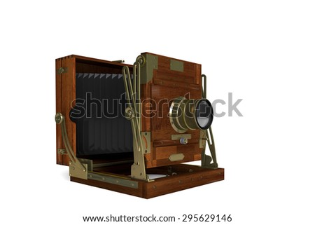 3D computer made the Vintage Film Camera on a white background in wooden case  - stock photo