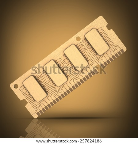 3d Computer RAM Memory Card 64gb  High resolution  - stock photo