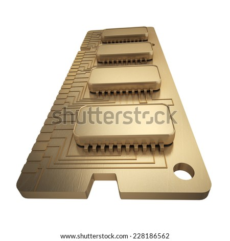 3d Computer RAM Memory Card 64gb isolated on white background High resolution  - stock photo