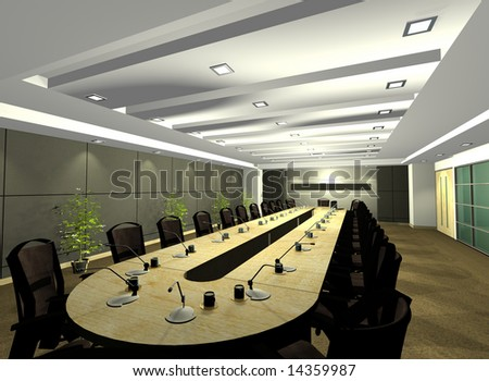 3D computer rendered illustration vector of a conference room on an office environment - stock photo
