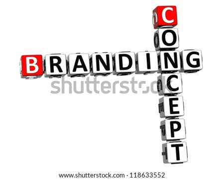 3D Concept Branding Crossword on white background
