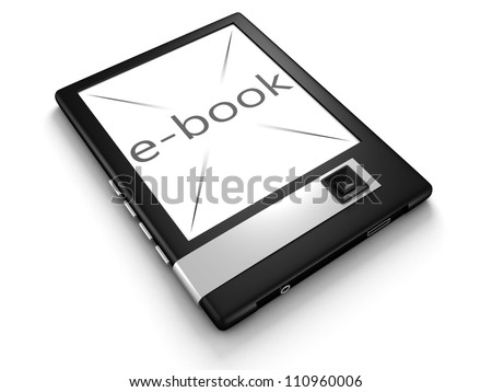 3d concept e-book gadget on white background - stock photo