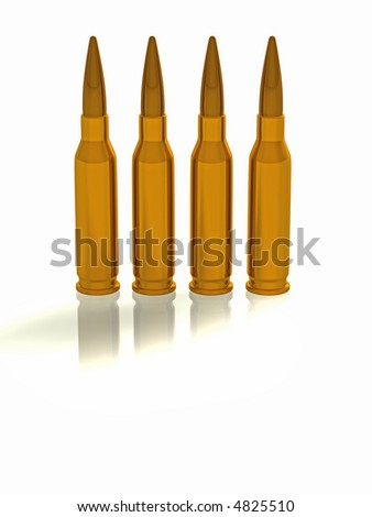 3d concept illustration of 4 bullets - stock photo