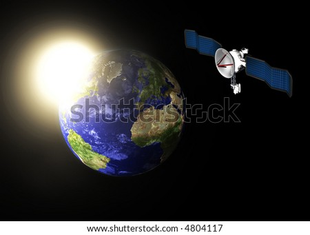 3d concept illustration of planet Earth with communication satellite - stock photo