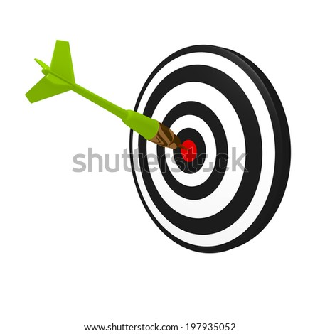 3d concept of dart hitting target isolated on white
