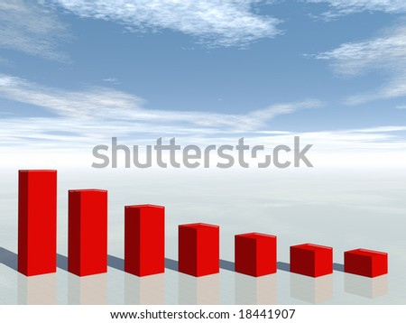 3d concept of financial crisis business graph moving down - stock photo