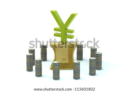 3d Concept of Japanese yen sign on the flattened-out gold ingot in an environment of coins of euro on white background - stock photo