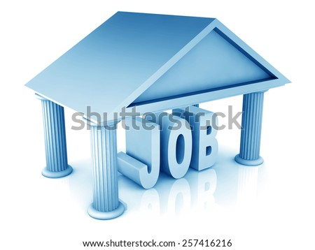 3d concept of job isolated on white - stock photo