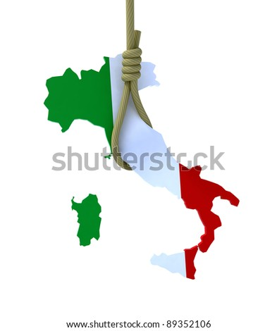 3d concept problem of the crisis in Italy