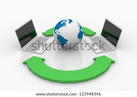 3d Concepts Sharing data between computers. - stock photo