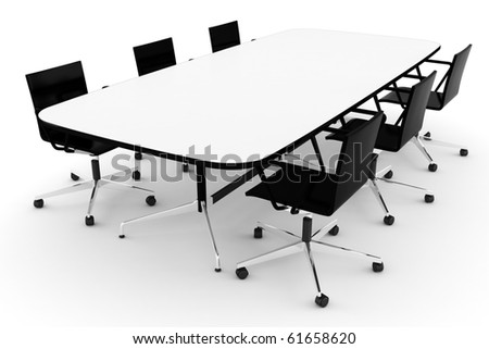 3d conference table, on white - stock photo