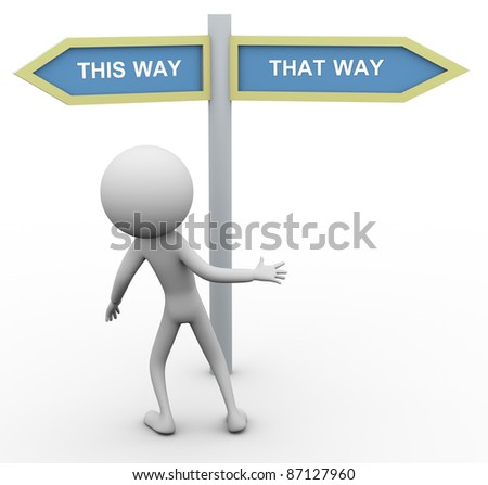 3d confused man doubt about choosing correct way. - stock photo